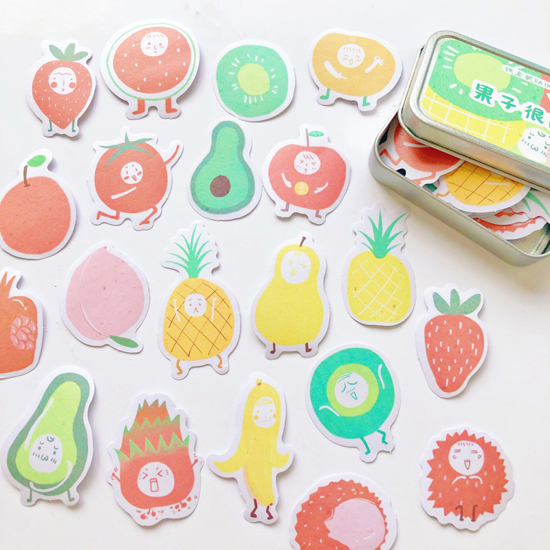 60pcs /Box Summer Sweet Fruits Tin Plate Paper Sticker Decorative Adhesive Sticker