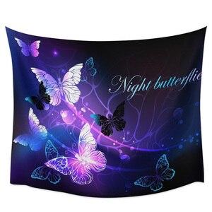 Настенный Гобелен для спальни, фиолетовый гобелен с изображением бабочек, Настенный Коврик для пикника, йоги, украшения для гостиной
