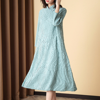 Plus Size Dress Vintage Chinese Style 2020 Women Spring Fashion Stand Collar 3/4 Sleeves Loose Miyake Pleated Solid Color Dress