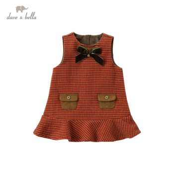 DB14579 dave bella winter baby girl's cute removable bow plaid dress children fashion party dress kids infant lolita clothes image