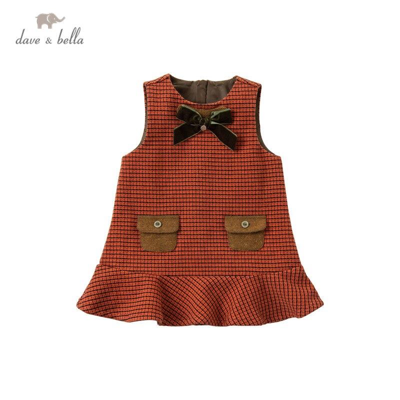 DB14579 dave bella/зимнее милое платье в клетку со съемным бантом для маленьких девочек модные вечерние платья для детей детская одежда в стиле Лолиты|Платья| | АлиЭкспресс