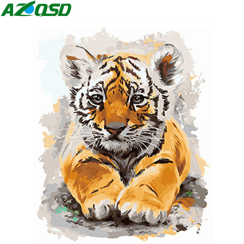 AZQSD Unframe Adult Coloring By Numbers Tiger Handpainted Gift DIY Oil Painting By Numbers Animal Home Deocration Full Kits