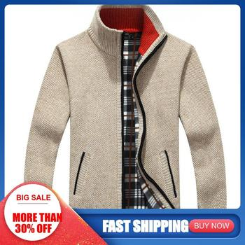 Winter Thick Men's Knitted Coat Off White Causal Plus Size Clothing