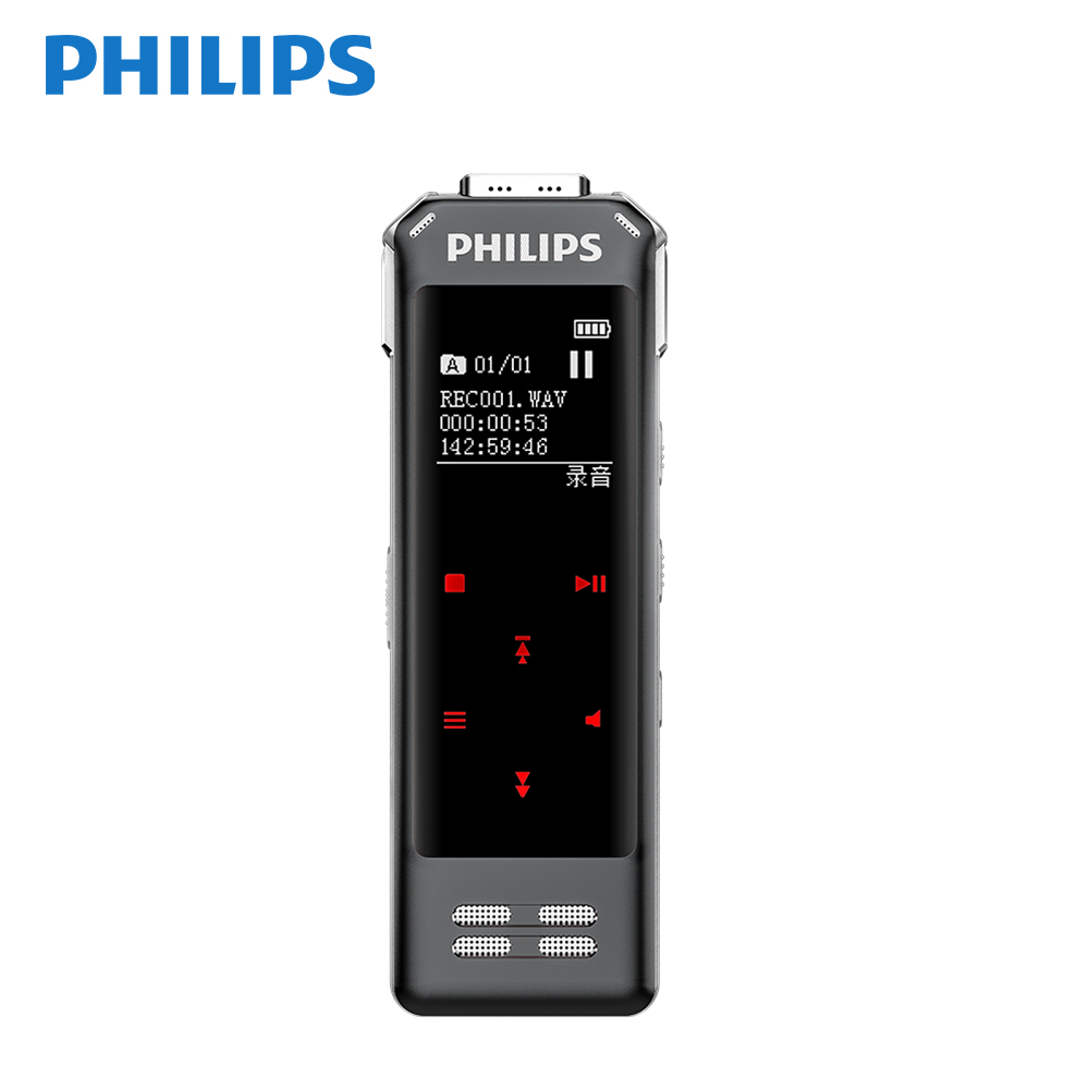 Philips 16GB Mini Voice Recorder Fingerprint Lock Noice Reduction auto 3 MICS Voice to Text App image