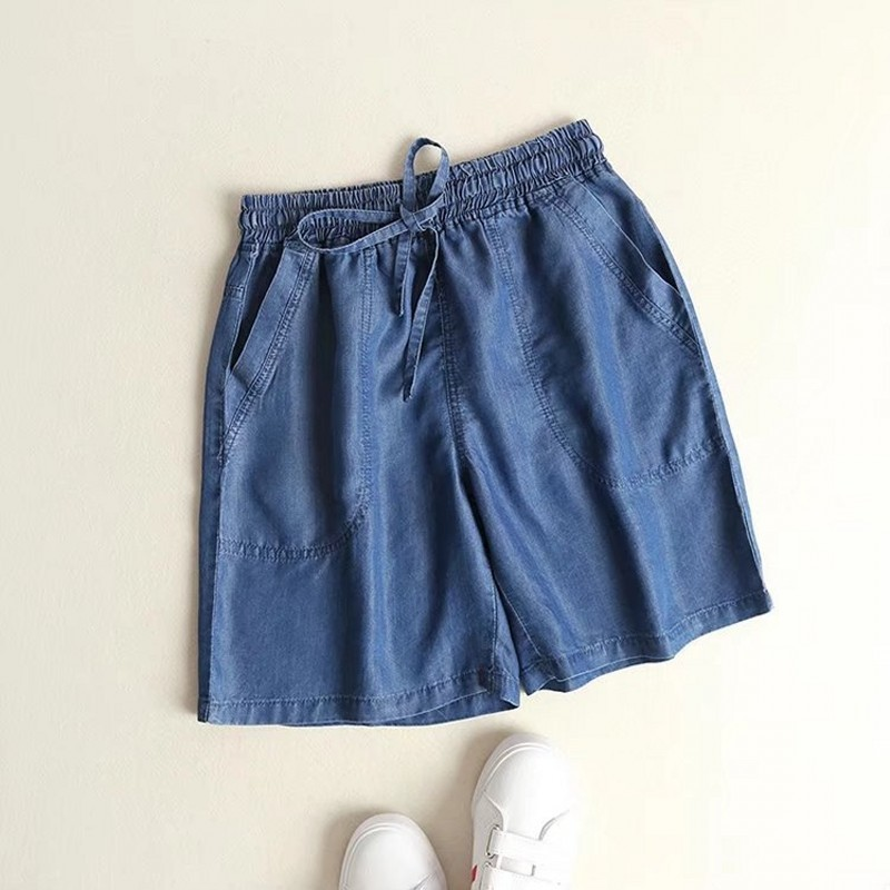 Summer Elastic Waist Drawstring Denim Casual Shorts Women Vintage Washed Straight Leg Short Pants Femme Thin Loose Fit Shorts