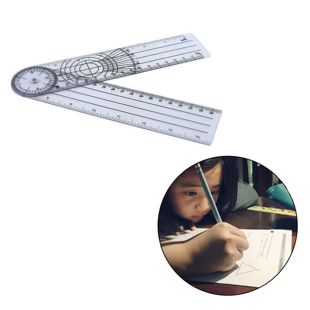 30cm Flexible Folding Ruler Three Horizontal Lines Ruler Angle Corner Kids Drawing School Pvc Rulers Gift Stationery Measur Q6D4