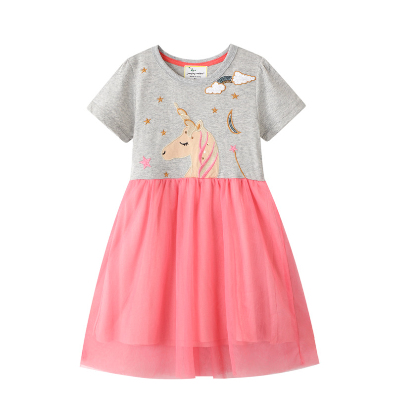 VIDMID  2-7 Years Baby Girls Dresses Summer Clothes Kids Cotton Girls Patchwork Clothing For Girls Dress New Cat