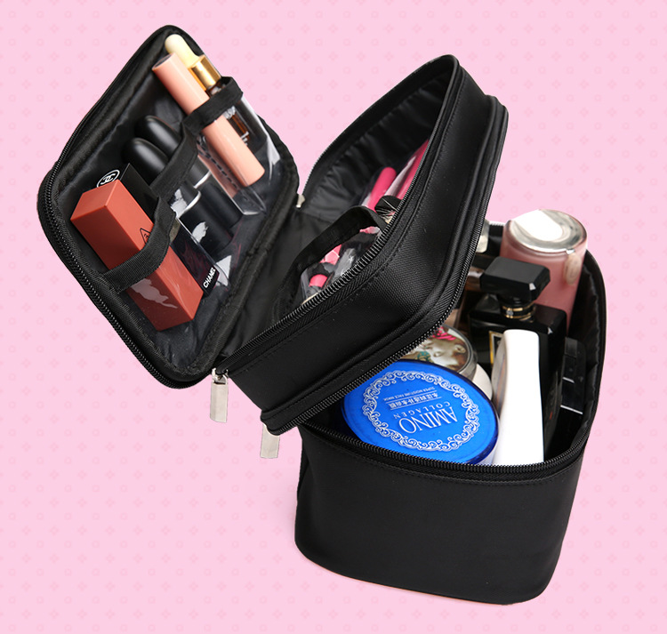 Double Layer Makeup Cosmetic Bag Travel Large Capacity Toiletry Bag Portable Makeup Tool Storage Pouch with Handle Box