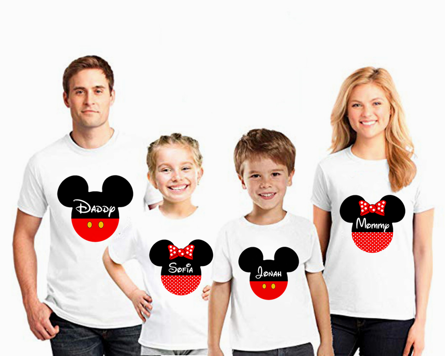 Mouse Head Family Matching Clothes T-shirt Mommy And Me Clothes  Minnie Ear T-shirt Boy Clothes  Birthday Short Sleeve T-shirt