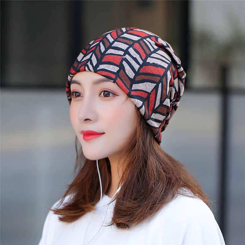 [DINGDNSHOW] 2019 الأزياء Skullies كاب طباعة قبعة صغيرة الشتاء كاب القطن بونيه بالاكلافا فاتحة النساء