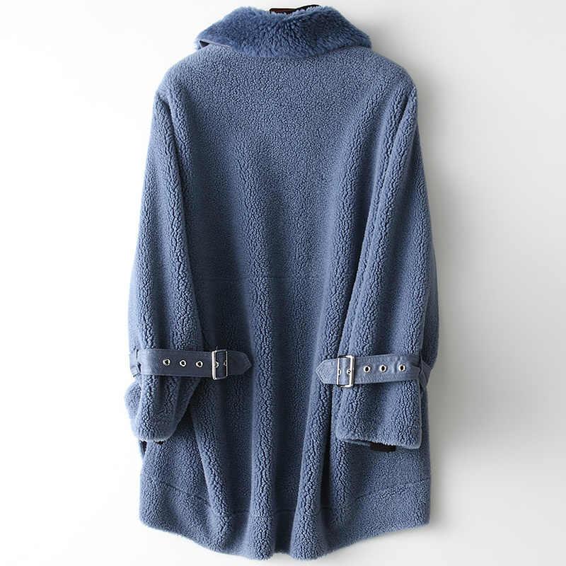 Thật Áo Khoác Lông Thú Nữ Áo Khoác Len Mùa Thu Đông Áo Khoác Nữ Quần Áo 2020 Vintage Hàn Quốc Cừu Shearling Áo Manteau Femme ZT4476