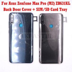 Новый оригинальный корпус ZB631KL для Asus Zenfone Max Pro (M2) ZB631KL, задняя крышка аккумулятора, крышка для сим-карты, лоток для карты памяти, Кнопка громк...