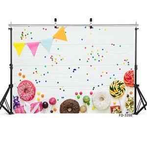 Image 2 - Beignets colorés bonbons fanion blanc planche de bois Photo fond vinyle décors pour enfants bébé douche photographie Photocall