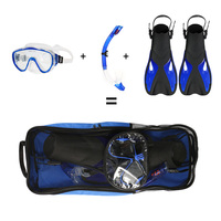 Snorkeling Goggles Combo Set Anti fog Goggles Mask Snorkel Tube Fins with Gear Bag for Men Women Swimming Scuba Diving Travel