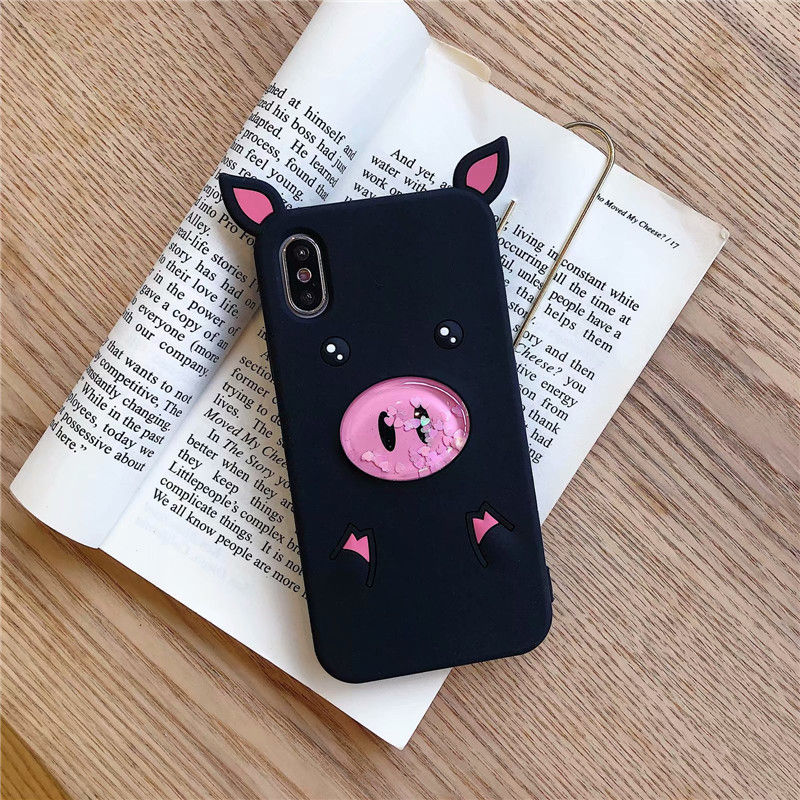Small Weird Phone Case For iPhone 7 8 7 8 Plus Stylish Cute Pointed Piglet Case For iPhone X XS XR XS Max Quicksand Pig Cases in Fitted Cases from Cellphones Telecommunications