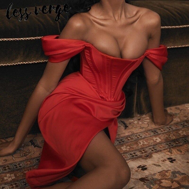 Lessverge Elegant Off Shoulder Red Long Party Dress Women Split Asymmetrical Autumn Winter Dress Christmas Slim Sexy Club Dress