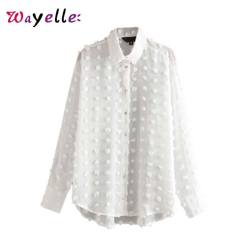 Chiffon Women Shirt Autumn White Polka Dot Elegant Women Tops Solid Buttons Chic Women Korean Blouses Office Wear Female Tops