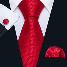 Красный Однотонный мужской свадебный галстук, шелковый галстук в горошек, галстук, набор Барри. Ван, жаккардовый тканый модный дизайнерский галстук для мужчин, подарки FA-5198