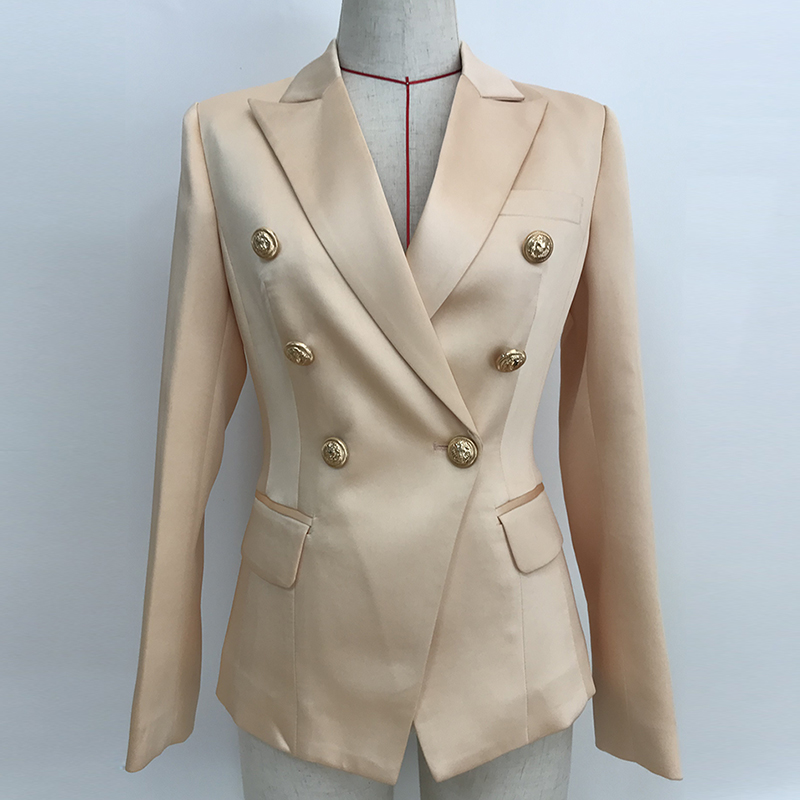 HIGH QUALITY 2019 Newest Designer Blazer Women's Double Breasted Lion Buttons Satin Blazer Jacket Champagne