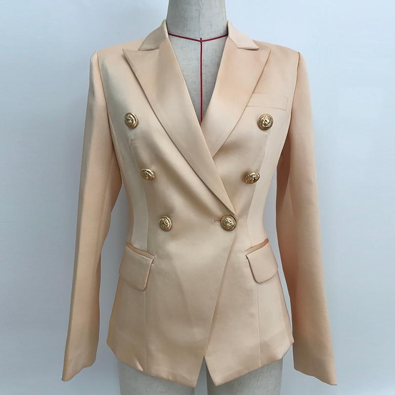 HIGH QUALITY 2020 Newest Designer Blazer Women's Double Breasted Lion Buttons Satin Blazer Jacket Champagne