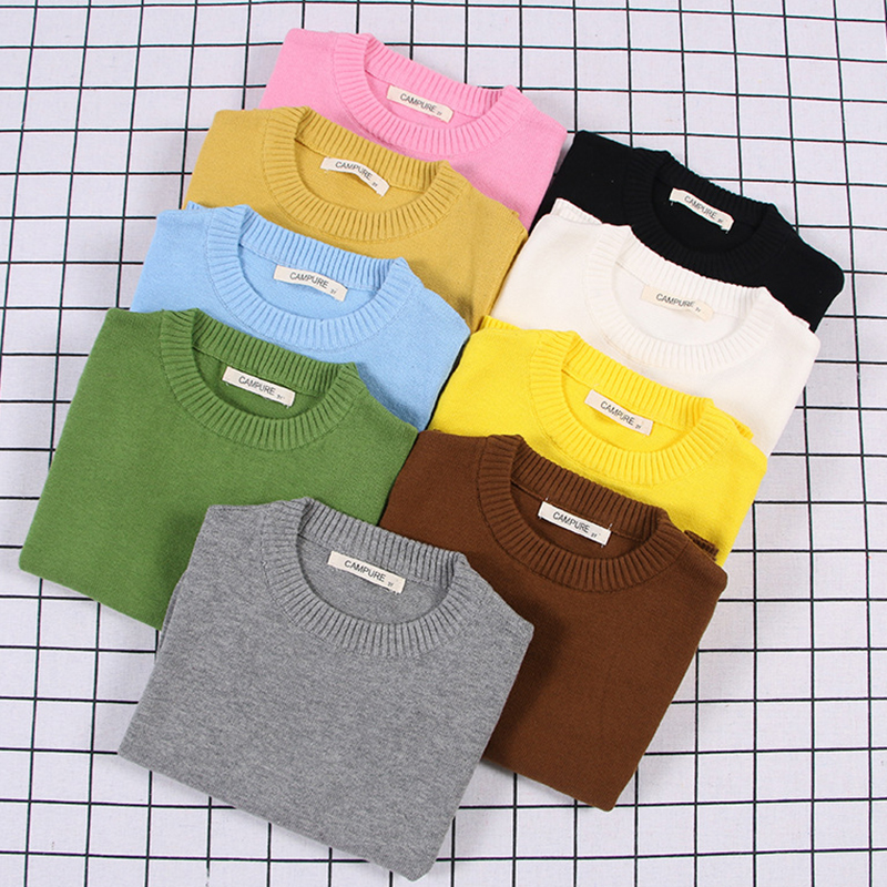 2020 New Spring Kids Pullovers Tops Baby Boys Girls Pure Color Sweaters Autumn Kids Sweaters Knitted Bottoming Boys Sweaters 1