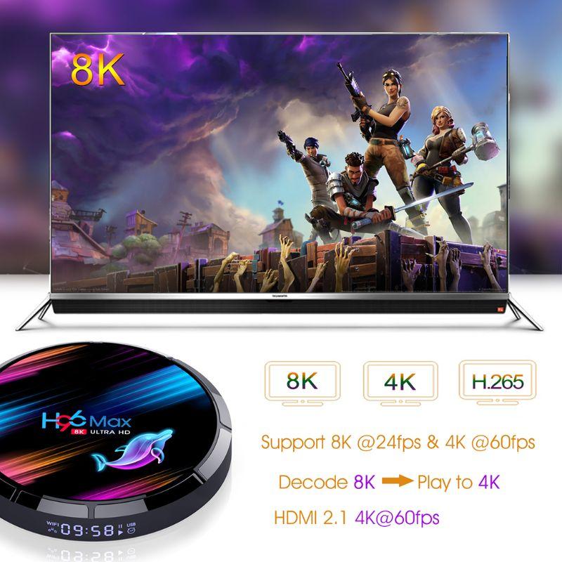 H96 MAX X3 Smart TV Box S905X3 2,4G/5G Wifi BT 4,0 Media Set Top Box 4 + 32 GB/64 GB/128 GB für Eine-droid 9,0 Systeme