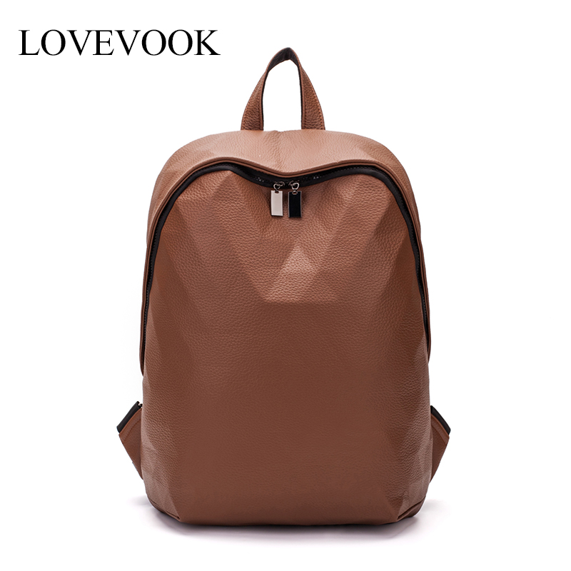 LOVEVOOK Women Backpack Schoolbag For Teenage Girls Large Capacity Foldable Geometric Backpack For Travel PU Leather Fashion Bag