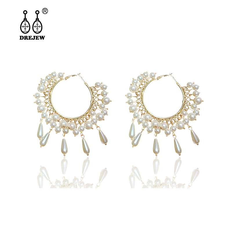 DREJEW Gold Circle White Pearl Ethnic Statement Earrings 2019 925 Fashion Hoop Sets for Women Weddings Jewelry HE5701