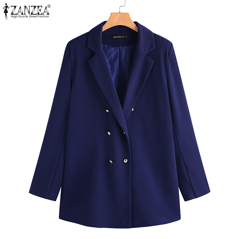 2020 Fashion ZANZEA Women's Blazers Turndown Collar Double Breast Jackets Office Ladies Outwear Work Coats Chaqueta Mujer Casaco