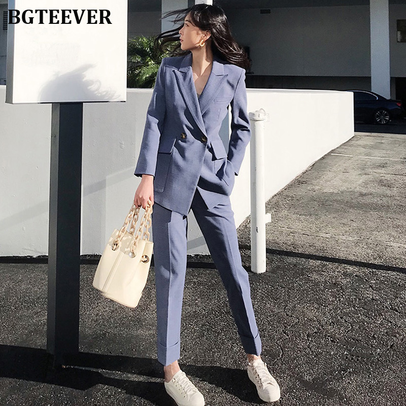 BGTEEVER Fashion 2 Pieces Set Women Pant Suits Notched Blazer Jacket & Pencil Pants Workwear Blue Female Blazer Suits 2019 Autumn