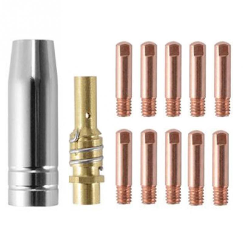 12pcs Conductive Nozzle MB-15AK M6*25mm MIG/MAG Welding Torch Contact Tip Gas Nozzle Part Tool Set 0.6/0.8/1.0mm