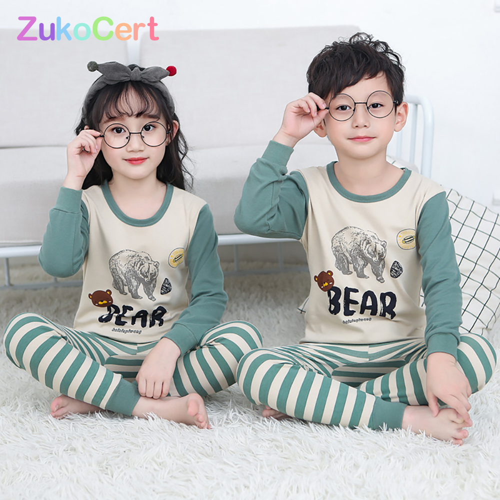 Kids Children Pajamas Girls Boys Sleepwear Nightwear Baby Infant Clothes All Cotton Pajamas SetS For 5 13 Years|Комплекты пижам| | АлиЭкспресс