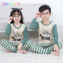 Kids Children Pajamas Girls Boys Sleepwear Nightwear Baby Infant Clothes All Cotton Pajamas SetS For 5-13 Years(China)