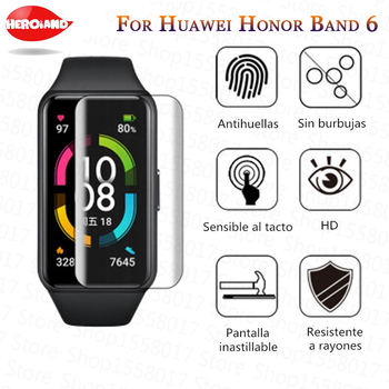 2 Pcs Unthin Soft TPU HD Clear Protective Film For Huawei Honor Band 6 Smart Watch Full Screen Protector Cover For Honor Band 6 2 pcs screen protector for huawei watch gt 2 pro soft film full cover 9h clear anti scratch screen guard protective shatterproof