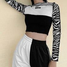 Топы e girl y2k футболки лоскутный топ с принтом зебры и длинными