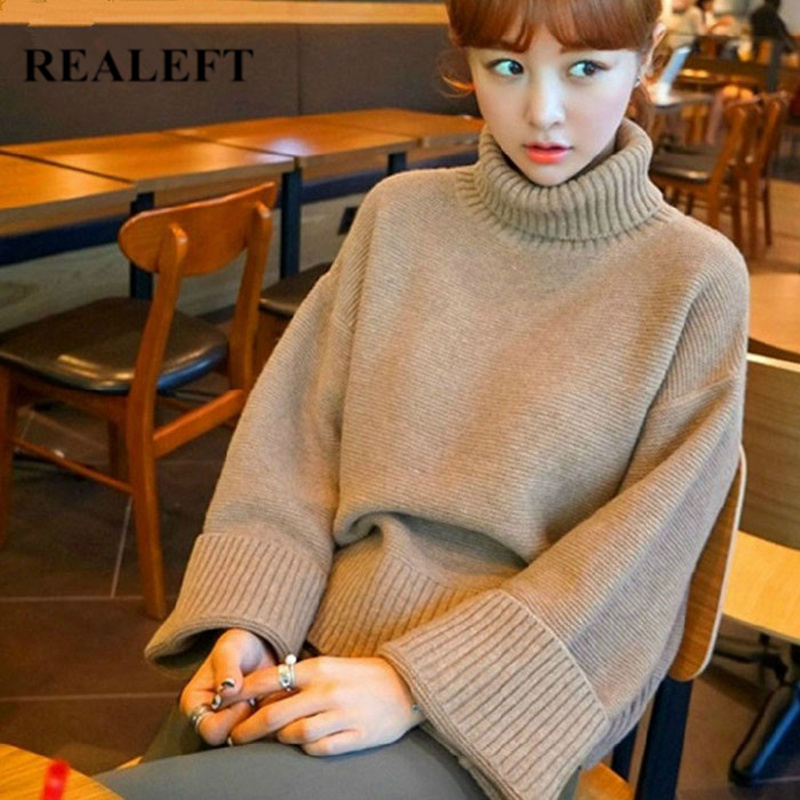 REALEFT Autumn Winter Long Sleeve Women's Pullover Sweater Fashion Turtle Neck Sweater Casual Knitted Loose Sweater 2019 New