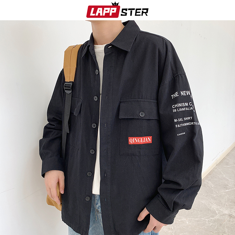LAPPSTER Men Streetwear Harajuku Cargo Shirts 2019 Hip Hop Men Button Up Shirt Long Sleeve Couple Black Vintage Fall Shirts