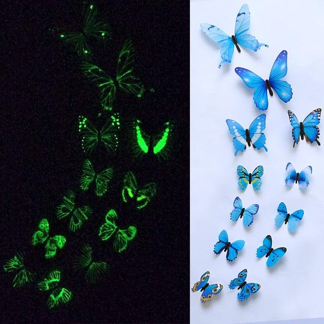 12pcs Luminous Butterfly Design Decal Art Wall Stickers Room Butterflies Home Decor DIY Stickers 3D Fridge Wallpaper Decoration 3