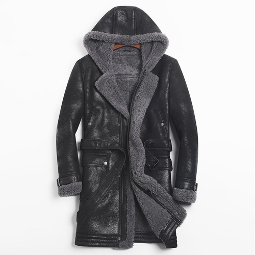 Leather Jacket Men Sheep Shearling Real Fur Coat Hooded Winter Jacket Windbreaker For Mens Clothing Jaqueta De Couro 754 YY709