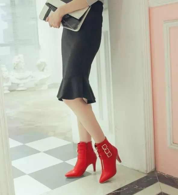 Kadın çizmeler kemer toka kadın botları kısa çizmeler keskin roma çizmeler yüksek kadın ayakkabısı