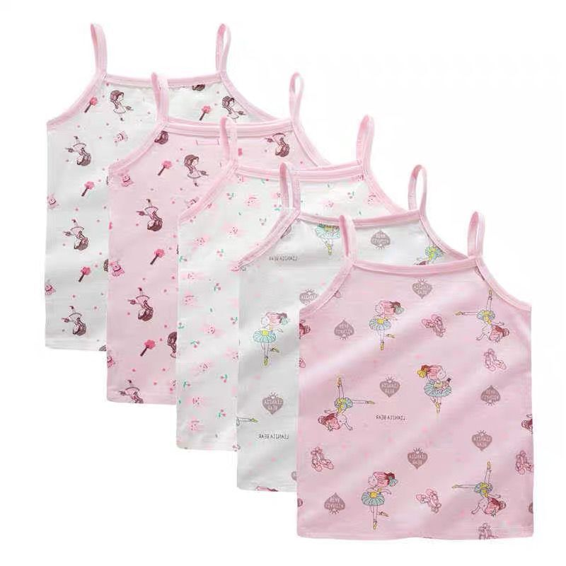 5 pc/lot enfants filles chemises coton T-shirt pour enfants filles bande dessinée hauts sous-vêtements filles soutiens-gorge sport soutien-gorge coton gilet