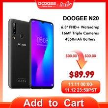 Doogee N20携帯電話の指紋6.3インチfhd + ディスプレイ16MPトリプルバックカメラ4ギガバイト64ギガバイトMT6763オクタコア4350mah携帯電話lte携帯電話