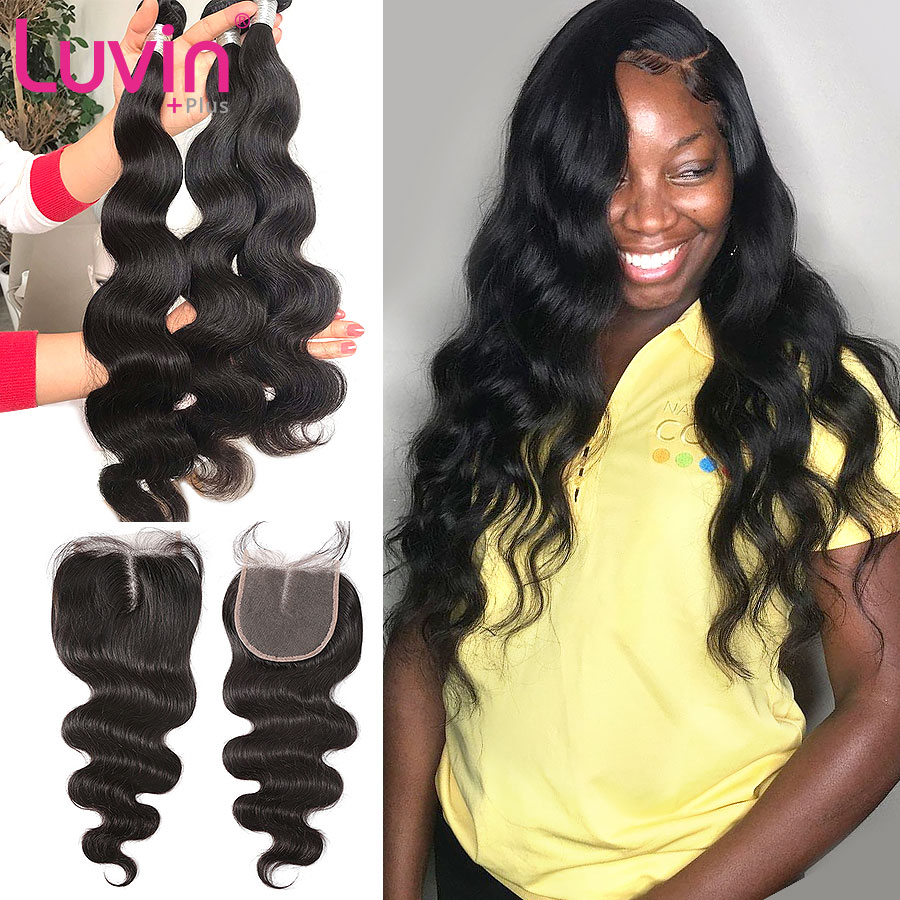 Body Wave Lace Closure Body Wave Peruvian Remy Human <font><b>Hair</b></font> Weave Bundles <font><b>With</b></font> Lace Closure <font><b>Frontal</b></font> 3 Bundle Weaves Extension image