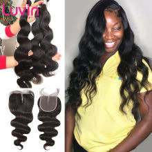 Luvin OneCut Hair Body Wave Peruvian Remy Human Hair Weave Bundles With Lace Closure Frontal 3 4 Bundle Weaves Extension(China)