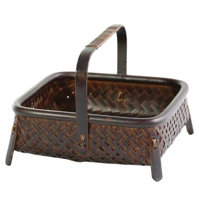 Bamboo woven storage basket hand made retro bamboo woven retro dried fruit tea set box kitchen interior household items