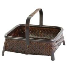 Bambu tecido cesta de armazenamento feito à mão retro bambu tecido retro frutas secas chá conjunto caixa de cozinha interior itens domésticos