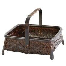 Cesta de almacenamiento tejida de bambú, hecha a mano, retro, tejida de bambú, retro, juego de frutas secas, caja de cocina, artículos para el hogar interior