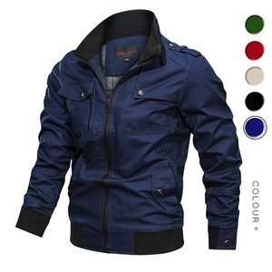 Image 3 - Men Bomber Jackets Multi Pockets Autumn New Casual Mens Military Pilot Coats Solid Stand Collar Cargo Outwear Windbreaker Male