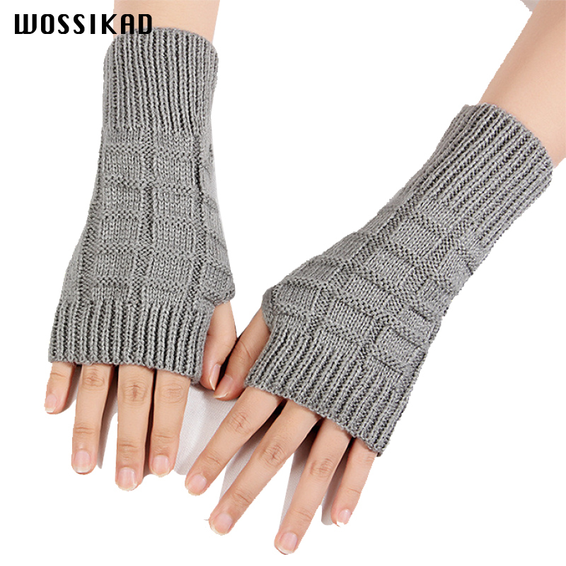 Half Finger Woman Glove Keep Warm Knitting Wool Arm Set Cuff Leak Out Finger And Reveal False Finger Sleeve