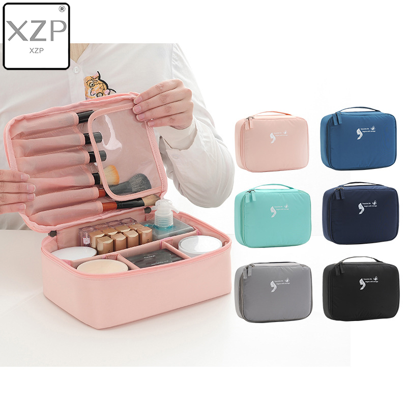 XZP Women Cosmetic Bag Makeup Bag Case Make Up Organizer Toiletry Storage Neceser Rushed Solid Zipper New Travel Wash Pouch